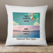 Personalised Two Photos Cushion With Optional Text