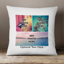 Personalised Three Photos Cushion With Optional Text