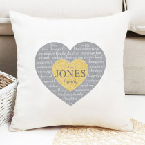Christmas Family Heart Text Non Photo - Cushion