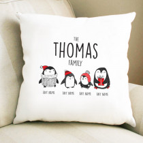 Christmas Penguin Two Children - Cushion