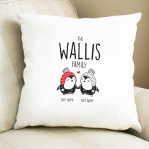 Christmas Penguin Couple - Cushion