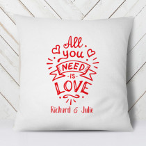Personalised All You Need Is Love Cushion