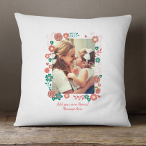 Personalised Floral Frame Photo Cushion
