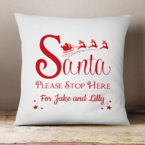 Personalised Santa Stop Here - Cushion