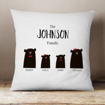 Personalised Bear Family Girl And Boy - Cushion