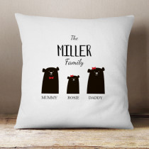 Personalised Bear Family One Girl - Cushion