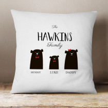 Personalised Bear Family One Boy Cushion