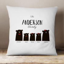 Personalised Bear Family Two Girls One Boy - Cushion