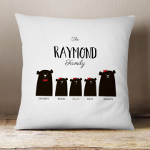 Personalised Bear Family Three Girls - Cushion