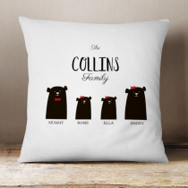 Personalised Bear Family Two Girls - Cushion