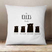 Personalised Bear Family Three Children - Cushion