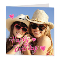 Pink Happy Birthday Hearts - Luxury Greeting Card