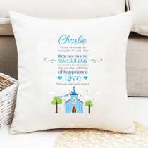 Personalised Blue Church Cushion