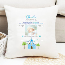 Personalised Blue Church Photo Cushion