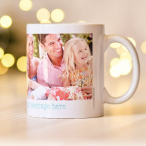 Blue Cute Text with two Photo Uploads - Mug
