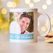 Personalised Blue Strip With White Text Photo Mug