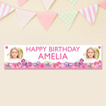 Butterfly Age With Photo Upload - Personalised Banner