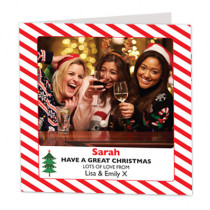Christmas Candy Cane Stripes with Photo Upload - Luxury Greeting Card