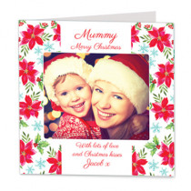 Christmas Traditional Pointsettia with Photo Upload - Luxury Greeting Card