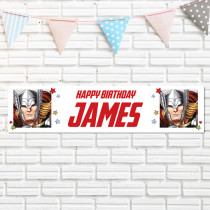Official Personalised Marvel Avengers Thor Birthay Banner