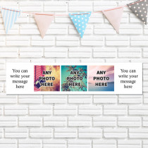 Personalised Photo Banner With Text - Three Photo Upload