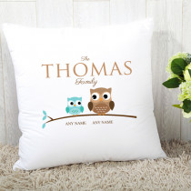 Personalised Family Owl Single One Child Cushion