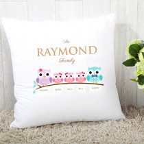 Personalised Family Owls Three Girls Cushion