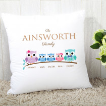 Family Owls Two Boys One Girl - Cushion