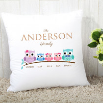 Personalised Family Owls Two Girls One Boy Cushion