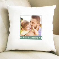 Personalised Green Banner Photo Cushion