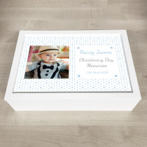 Personalised Keepsake Memory Box little blue star design