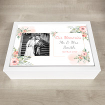 Personalised Keepsake Memory Box stylish floral theme with photo