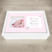 Personalised Keepsake Memory Box PInk Theme with Photo