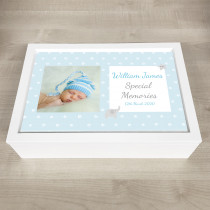 Personalised Keepsake Memory Box Blue with Photo