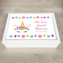 Personalised Keepsake Memory Box Unicorn Design with message