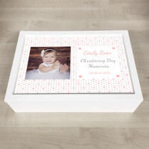 Personalised Photo Keepsake Box Pink Heart Theme
