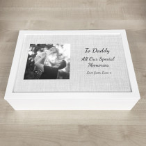 Personalised photo Keepsake Box linen effect