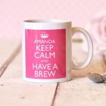 Personalised Keep Calm Pink Mug