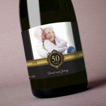 Personalised Black and Gold Anniversary with Photo - Label