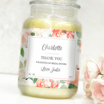 Personalised Peach Flowers Label