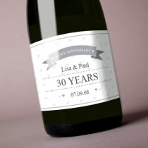 Personalised Grey Happy Anniversary - Label