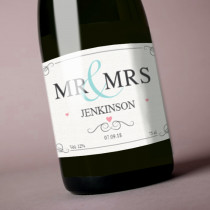 Personalised Pastel Mr & Mrs Label
