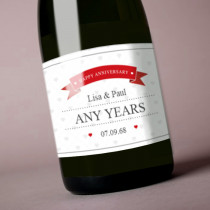 Personalised Red Happy Anniversary - Label
