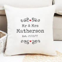 Personalised Mr And Mrs Editable Cushion