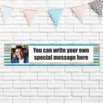 Personalised Orange Striped Photo Banner