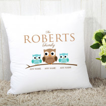 Personalised Owl Family Single Two Children Cushion