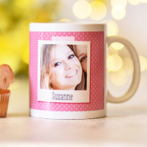 Personalised Pink Polka Dot Polaroid Photo Mug