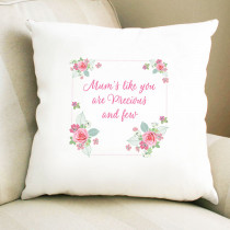 Personalised Pink And Teal Rose Pattern Cushion