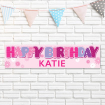 Personalised Pink Birthday Banner