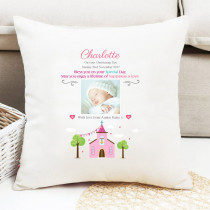 Personalised Pink Church Photo Cushion